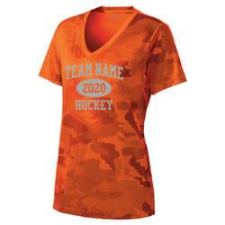 - Ladies CamoHex V Neck Tee